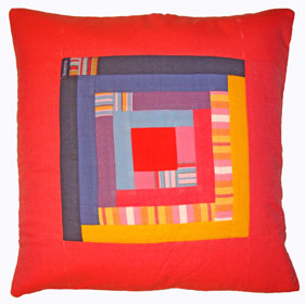 Patchwork Cushion Cover - Waa Red