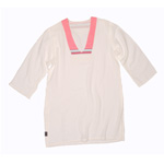 Kaftan Top - White Muslin - Tatu Pink